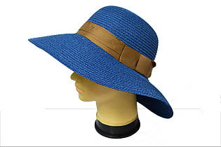 """Женская широкополая шляпа """"Кетрин MZ1512"""" синий"""