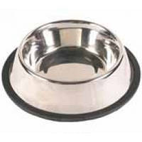 Миска Трикси стальная, на резиновом кольце, 2,8л, 24см
