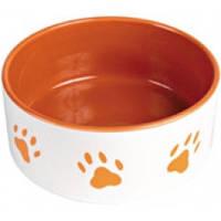 Миска Трикси керамическая с оранжевыми лапками, 0,8л, 16см