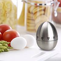 Таймер кухонный механический в форме яйца. Нержавейка.