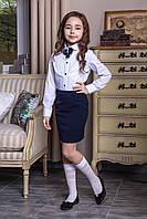 """Блуза белая школьная с синей брошью-жабо """"Nikole"""""""