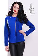 Пиджак из трикотажа женский Спич-3 с косой застежкой молнией