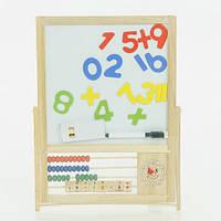 """Деревянная игра """"Цифры, буквы, счеты на доске"""" 0295 (48) в кульке"""