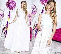 Белое выпускное платье из шифона