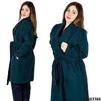 Зеленое пальто 1403388, большого размера