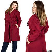 Бордовое пальто 1403388, большого размера