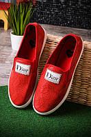 Слипоны с надписью Dior красные женские  O-13113, фото 1