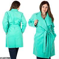 Ментоловое пальто 1403388, большого размера