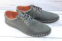 Мужские кожаные летние туфли К-105, черные