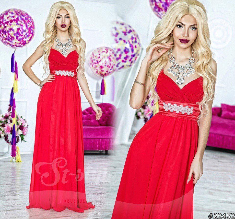 6664dee916a Красное платье с длинной юбкой из шифона - Интернет-магазин