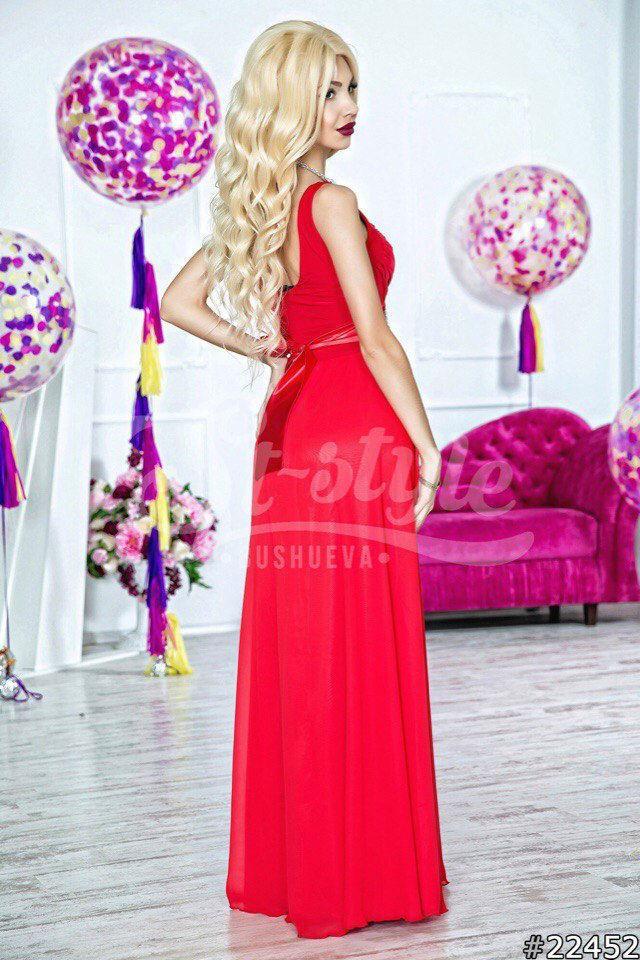086d23b58e5 Красное платье с длинной юбкой из шифона