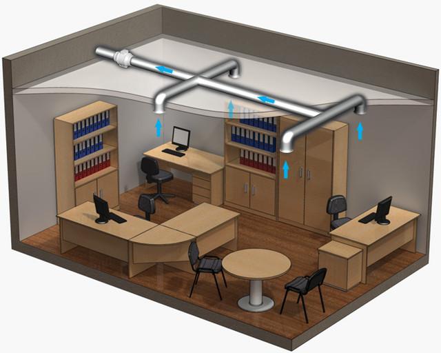 монтаж отопления и вентиляции в офисе