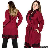 Бордовое пальто 1403437, большого размера
