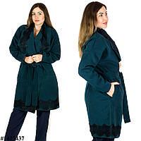 Зелёное пальто 1403437, большого размера
