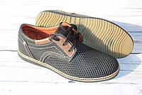 Мужские кожаные летние туфли AV42, черно-коричневый