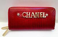 Женский кошелек Chanel две молнии, отделение для телефона красный цвет