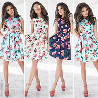Стильное женское платье с поясом принт розы / Украина / креп