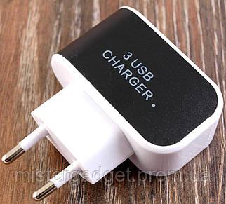 Зарядное устройство CHARGER 3-USB Адаптер для смартфона Black