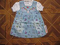 Детский джинсовый сарафан+футболка  Бабочки для девочки 68,74,86 см Турция