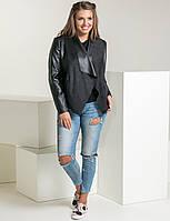 Супер стильный кожаный пиджак-кардиган больших размеров 50-54
