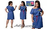 Платье молодежное, размер 42-44, 46-48, 50-52, 54-56. Ткань лен. В наличии 3 цвета
