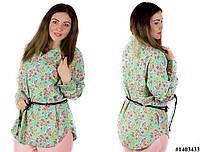 Мятная блуза 1403433, большого размера