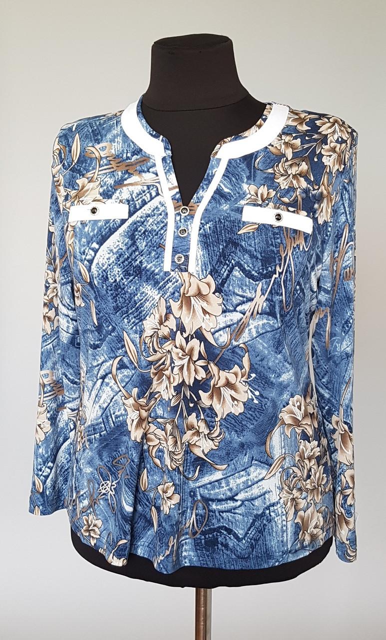 Женская блуза с длинным рукавом большого размера