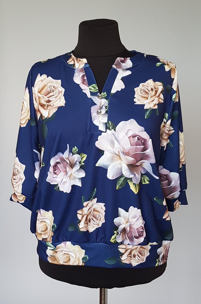 Блуза женская «Розы» больших размеров