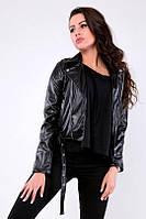 Стильная женская куртка - косуха из качественной эко кожи черная
