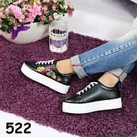 Черные кеды на платформе вышивка, женская обувь, кроссовки