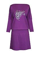 Женское платье на весну большого размера изготовлено из функциональной турецкой ткани, декорировано принтом.