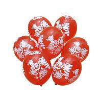 Латексные воздушные шары Gemar Италия, расцветка: Пастель красный, белые розы, круговая печать шелкография, Ди
