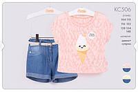 Комплект для девочек 104 см Футболка + шорты КС506 (104) Бэмби Украина