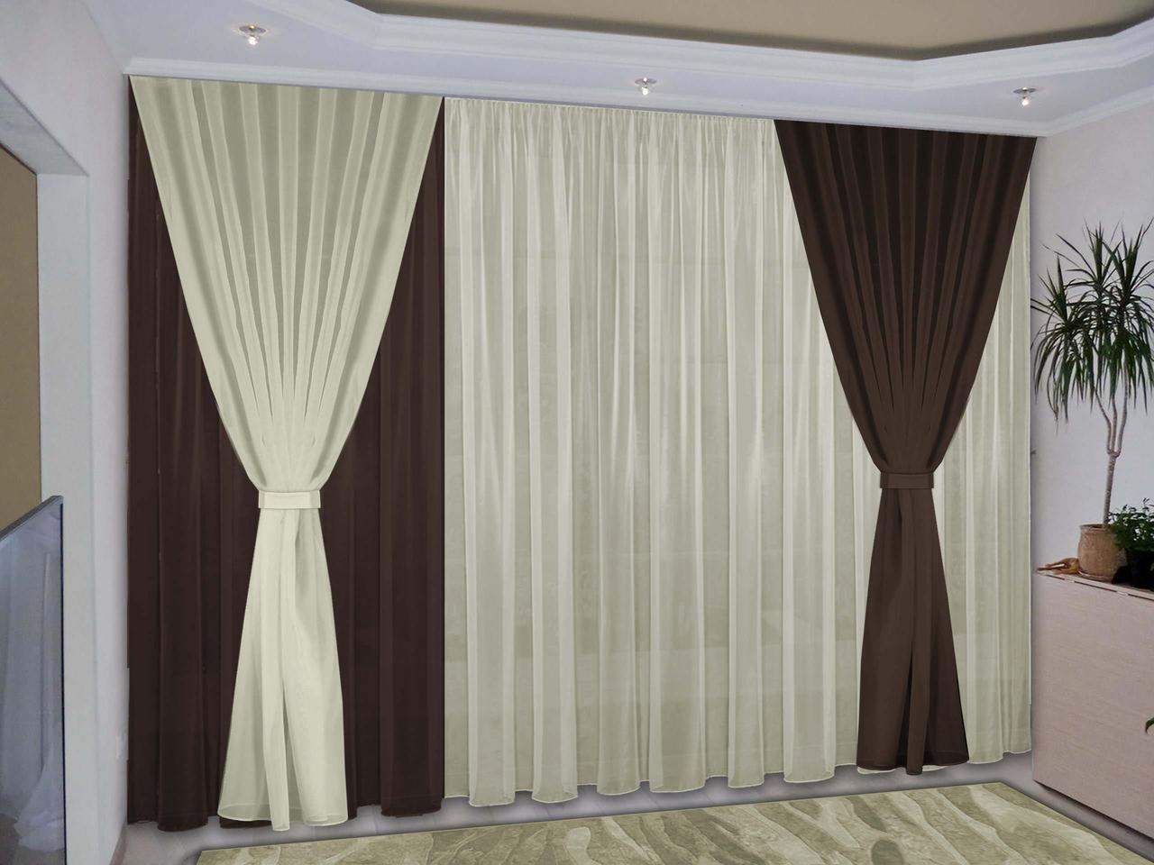 Готовые шторы для зала с тюлем