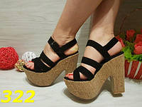 38!!! Босоножки черные пробковая подошва, женская обувь, балетки, фото 1