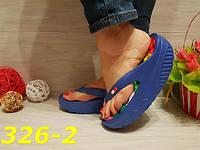 Шлепанцы резиновые на высокой платформе синие, женская обувь, балетки