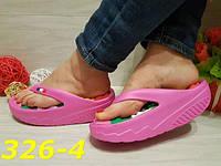 Шлепанцы резиновые на высокой платформе розовые, женская обувь, балетки