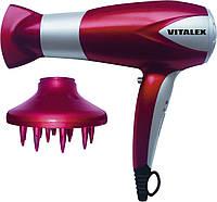 Фен для волос Vitalex VT-4002 красный, сушка для волос, фен электрический, компактный фен для дома
