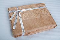 Бамбуковая махровая простынь 200х220 Cestepe Bamboo  Cicek персик
