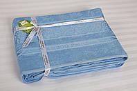 Бамбуковая махровая простынь 200х220 Cestepe Bamboo Premium голубая
