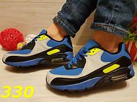 Кроссовки аирмакс сине-желтые, женская обувь