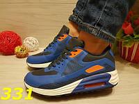 Кроссовки аирмакс сине-оранжевые, женская обувь 37 и 39, фото 1