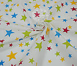 Ткань хлопковая с разноцветными звёздами разной величины (№ 713), фото 3