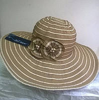 шляпа из текстильной ленты с розочкой   цвет коричневый