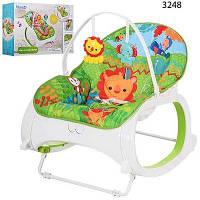 Детский шезлонг качалка Бемби с вибро режимом Bambi кресло