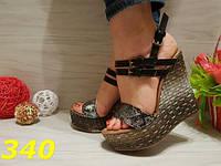 Босоножки на танкетке под рептилию, балетки, женская обувь, фото 1