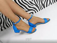 Женские босоножки каблук 3,5 см, эко замша, голубые / босоножки женские с закрытой пяткой, стильные