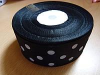 """Репсовая лента """"Черная в белый горох"""", 40 мм"""