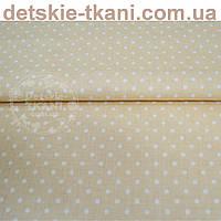 Бязь с белым горошком 3 мм на светло-кофейном фоне (№88а)