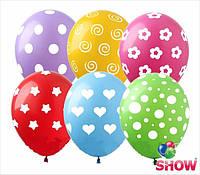 """Воздушные латексные шарики Горошек Микс 100 штук, 12"""" (30 см) ТМ Show"""